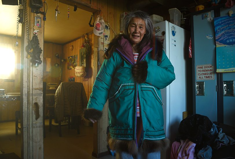 Martha Voudrach modeling her winter parka; Tuktoyaktuk, NT